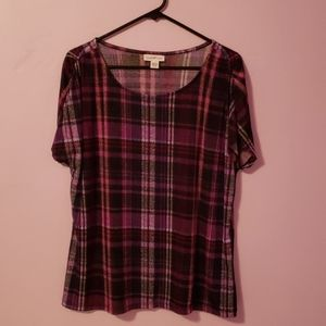 Plaid Purple Short Sleeve Blouse [Jaclyn Smith]
